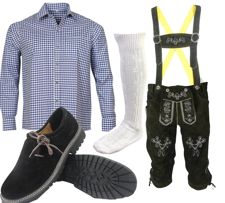 S2 Trachtenset (Hose +Hemd +Schuhe +Socken ) Bayerische Lederhose Trachtenhose Oktoberfest Leder Hose Trachten