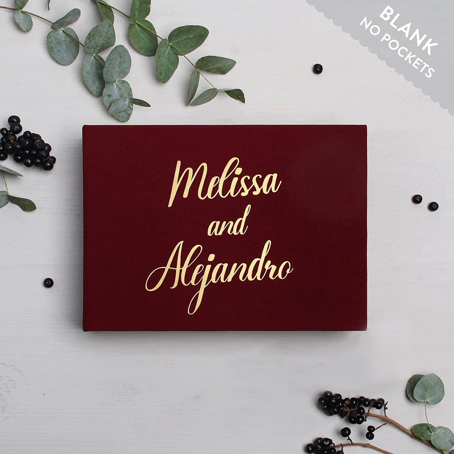 Wedding Instant Guestbook Marsala with Gold Lettering Sign in Book- with empty pages