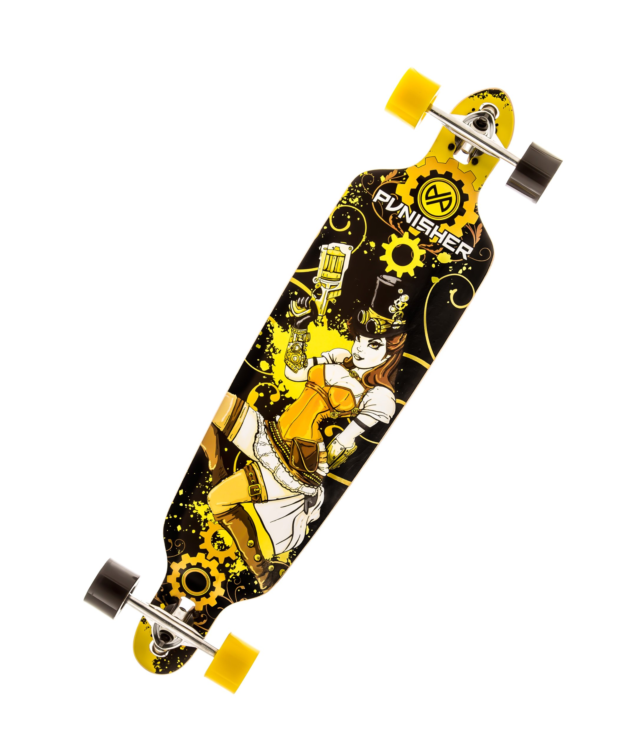 Punisher Skateboards Steampunk Drop-Through Canadian Maple Longboard Skateboard with Concave Deck, Yellow/Black, 40-Inch by Punisher Skateboards