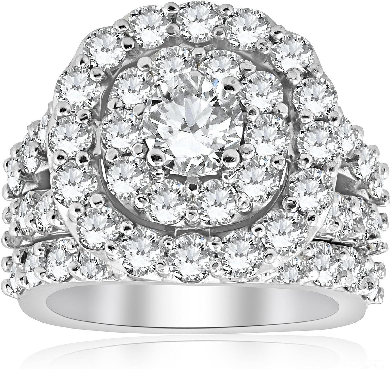 4 1/3 ct Diamond Cushion Double Halo Engagement Ring Wedding Set 10k White Gold