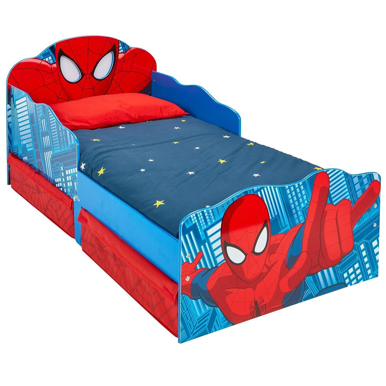 Hello Home 509SDR Lettino per Bambini Spider Man con Occhi Luminosi e Contenitore Sottoletto, Legno, Red, 142 x 77 x 64 cm Worlds Apart