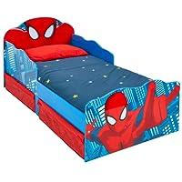 Hello Home 509SDR Lettino per Bambini Spider Man con Occhi Luminosi e Contenitore Sottoletto, Legno, Red, 142 x 77 x 64 cm