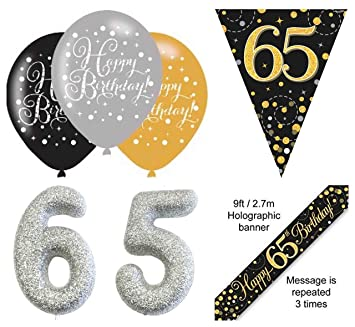 EPF 65th Birthday Party Decorations Kit Age 65 Black And Gold Banner 6pcs Latex Balloon