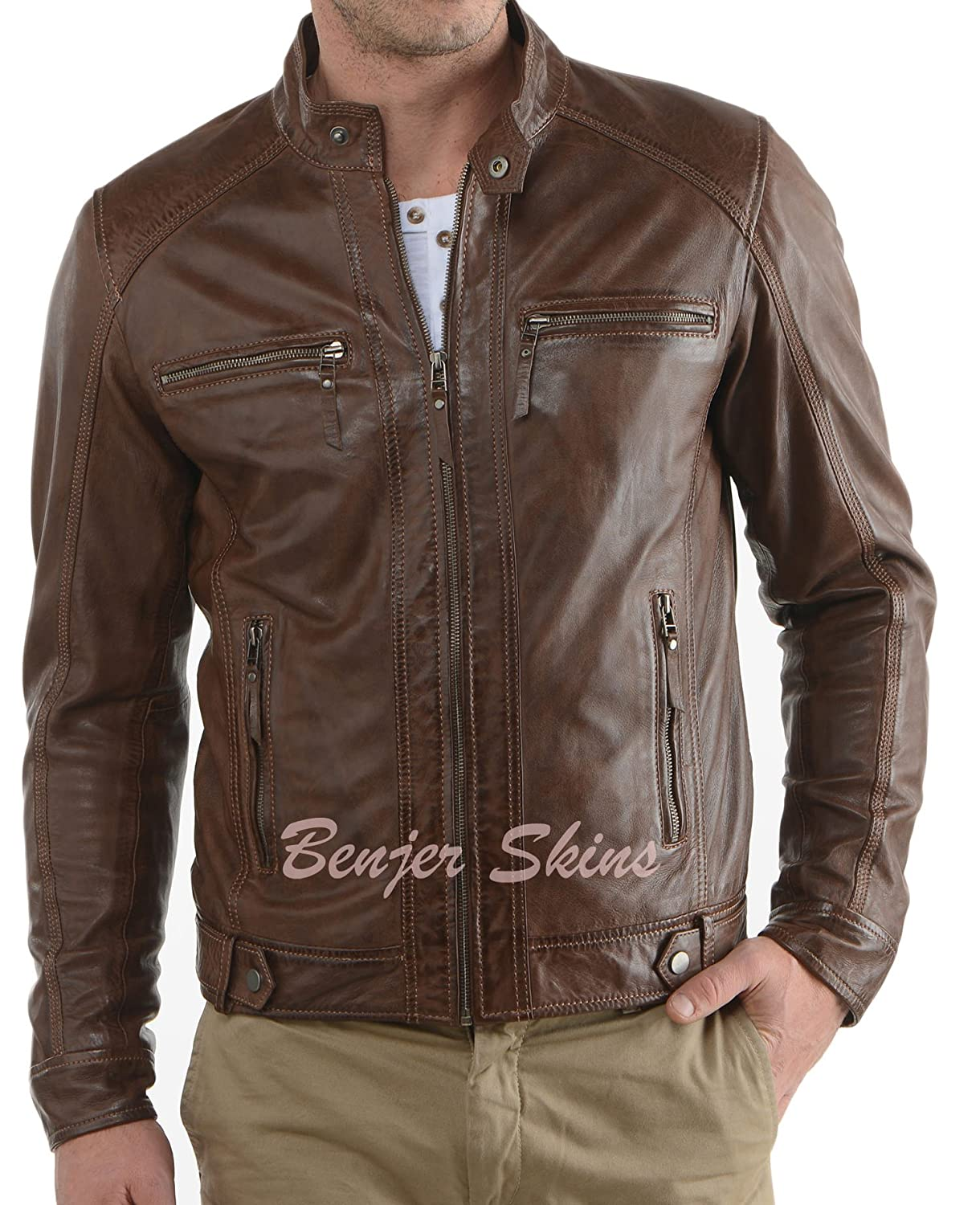 Benjer Skins Men's Stylish Lambskin Genuine Leather Jacket 23