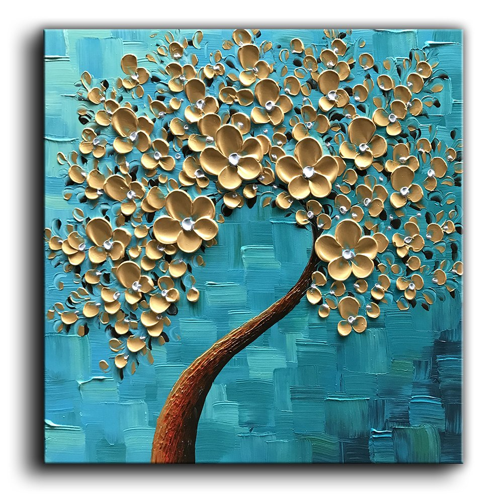 baccow -100% Hand-Painted 3D Texture Floral Contemporary Art Oil Painting On Canvas Modern Abstract Tree Paintings Framed Wall Paintings for Living Room Bedroom Kitchen Dining Room Ready to Hang