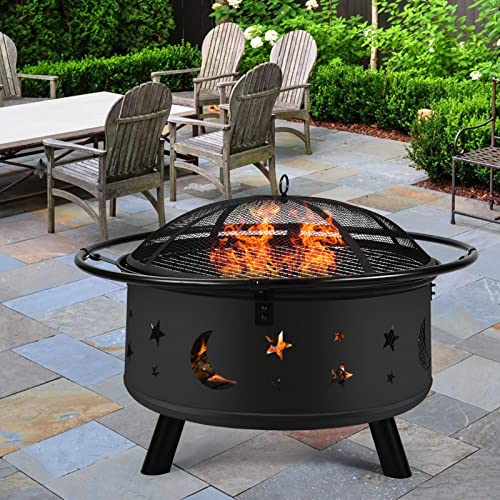 Fire Pit 30″ Fire Pits Outdoor Wood Burning Celestial Design Patio Steel Fire Bowl