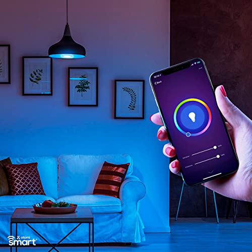 ATOMI SMART Color Changing Light Bulb Smart LED Bulb Hue 2500K-9000K , Dimmable 60W Eq, WiFi Control with iOS and Android App, Voice Control with Alexa, Google Great Color Lights for Bedroom