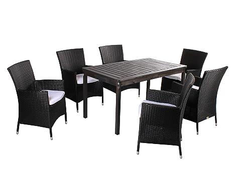 7 piezas. Polirratán Madera Asiento Grupo Ragusa, sillones y ...