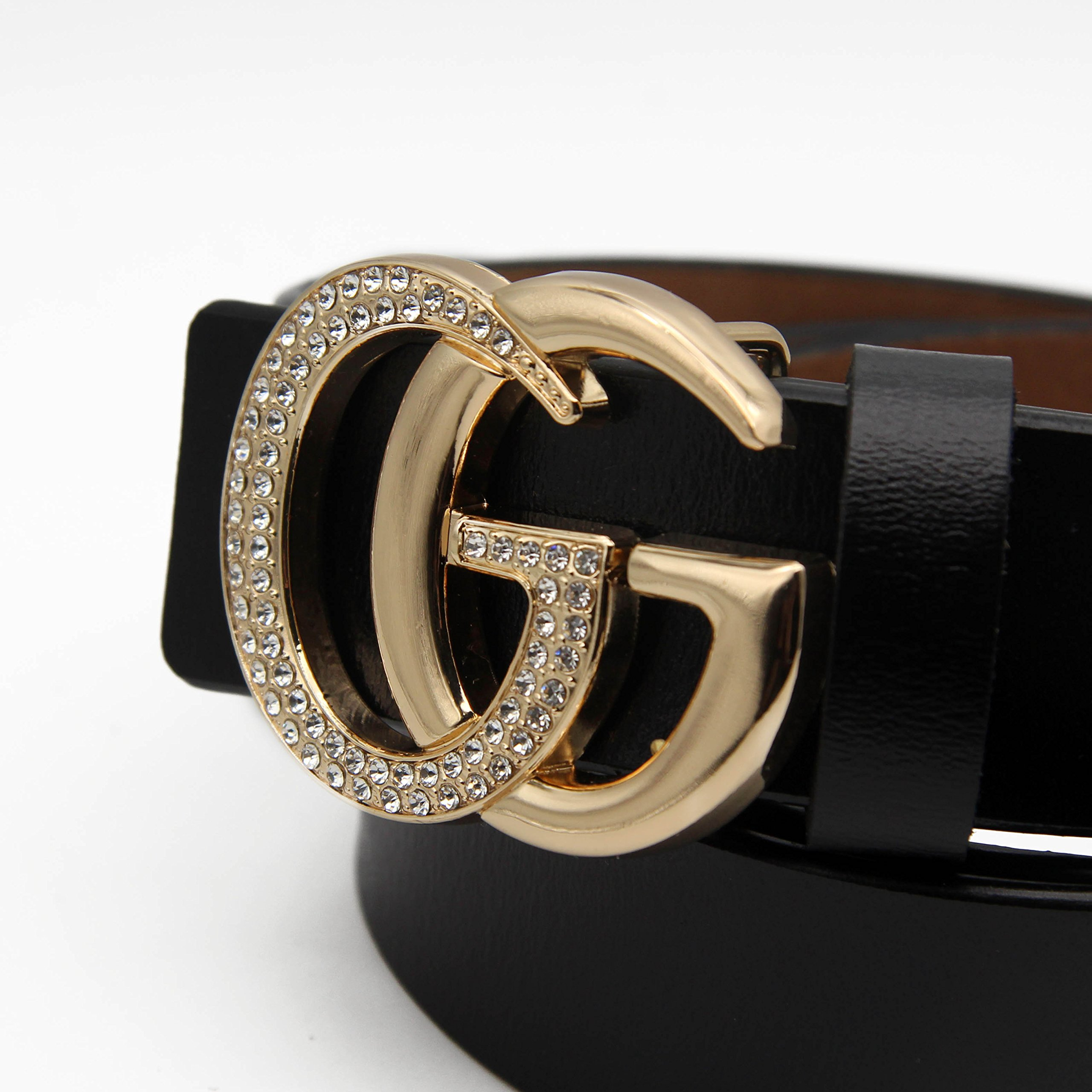 Women's Cowhide Leather Belt Gold Zircon Buckle for Pants Jeans Shorts Ladies Design Genuine Belts for GAGOTE (105cm/41.3'', pants size 26''-30'', Black) by GAGOTE (Image #4)