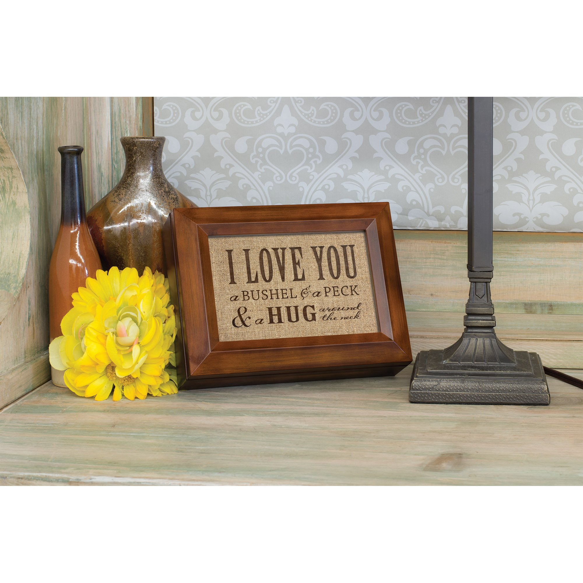 I Love You A Bushel & A Peck Wood Finish Jewelry Music Box - Plays Tune You Are My Sunshine by Cottage Garden (Image #5)