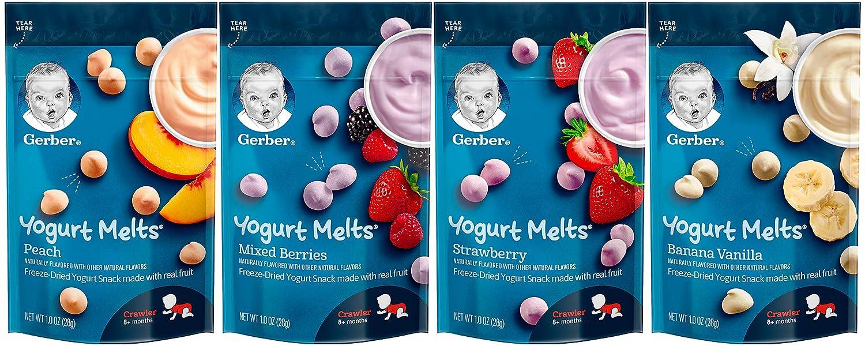 Gerber Yogurt Melts Variety Pack, 1 Peach, 1 Mixed Berries, 1 Strawberry, 1 Banana Vanilla, 1.0 oz Each (4 CT)