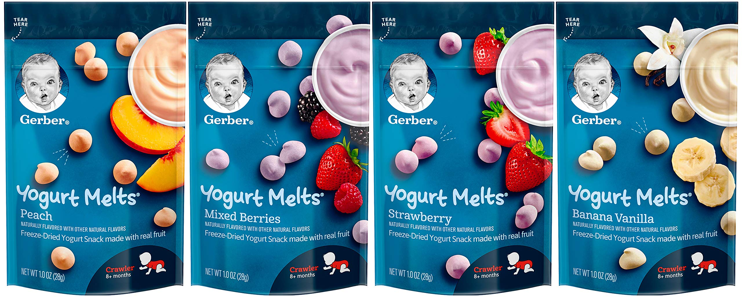 Gerber Yogurt Melts Variety Pack, 1 Peach, 1 Mixed Berries, 1 Strawberry, 1 Banana Vanilla, 1.0 oz Each (4 CT)