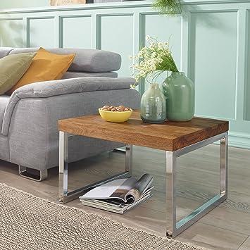 Finebuy Beistelltisch Massiv Holz Sheesham Wohnzimmer Tisch Mit