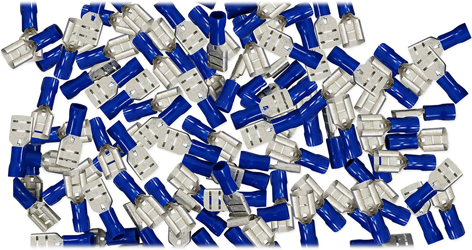 "100 Nylon Male Quick Disconnect Terminal 16-14 GA AWG gauge Blue 0.250/"" Wire"