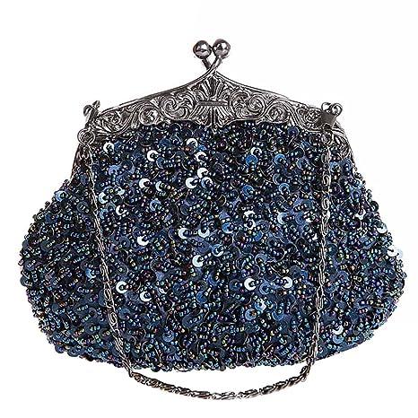 Bolso de Embrague Monedero de la Cartera del Bolso de Mano Lentejuelas Bolso de Tarde (Azul)
