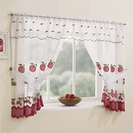Ideal Textiles Winchester Complete Curtain Window Set Gingham Trim Kitchen Curtains Bright Apple Design Slot Top Curtains Red White 98 X 42
