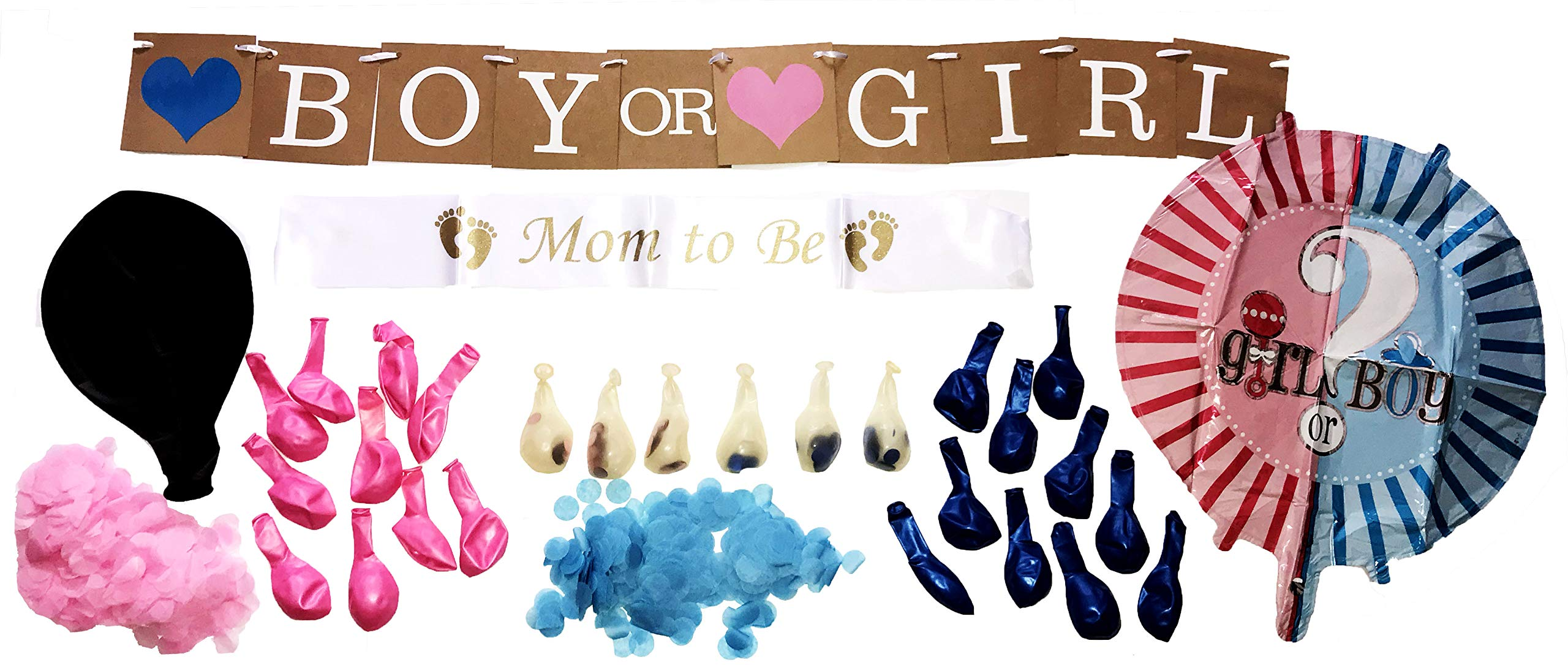 Texas Baby Products - Gender Reveal Party Supplies Set for Girls & Boys | Includes Mom to Be Sash & Jumbo Black Gender Reveal Balloon, Banner Decorations & More | Complete Kit for Your Shower