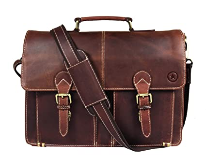 Aaron Leather Leather Briefcase Messenger Bag For Laptop Leather Satchel (Walnut) by Aaron Leather