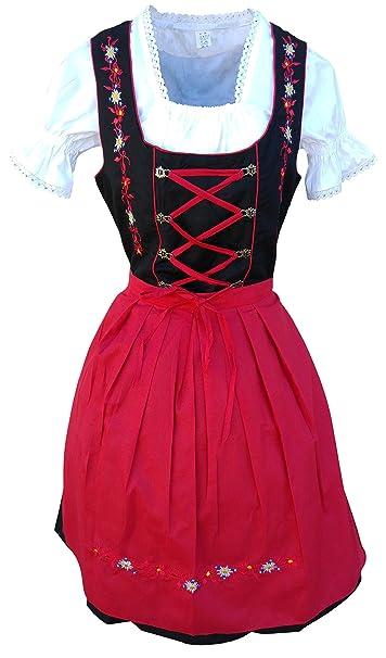 Di06rs Mini Dirndl, 3 pieza de vestir traje en rojo negro, blusa y falda