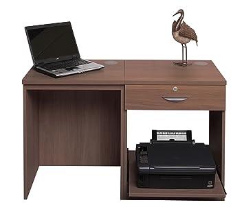 Home Mobiliario de Oficina UK pequeño Ordenador portátil Impresora Mesa para niños Kids Escritorio de Ordenador (2 Piezas, Madera, Madera de Teca, ...
