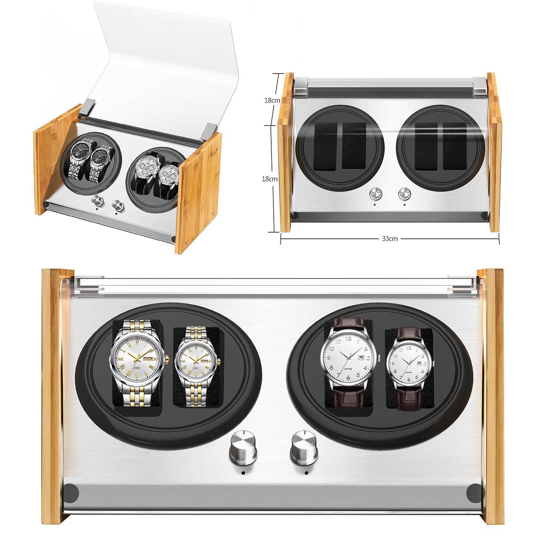 d5079f856 Expositor de relojes Watch Winder Smith® para 4 relojes, 5 modos, motor muy  silencioso, de cristal, con movimiento, carcasa de bambú natural, marco de  acero ...