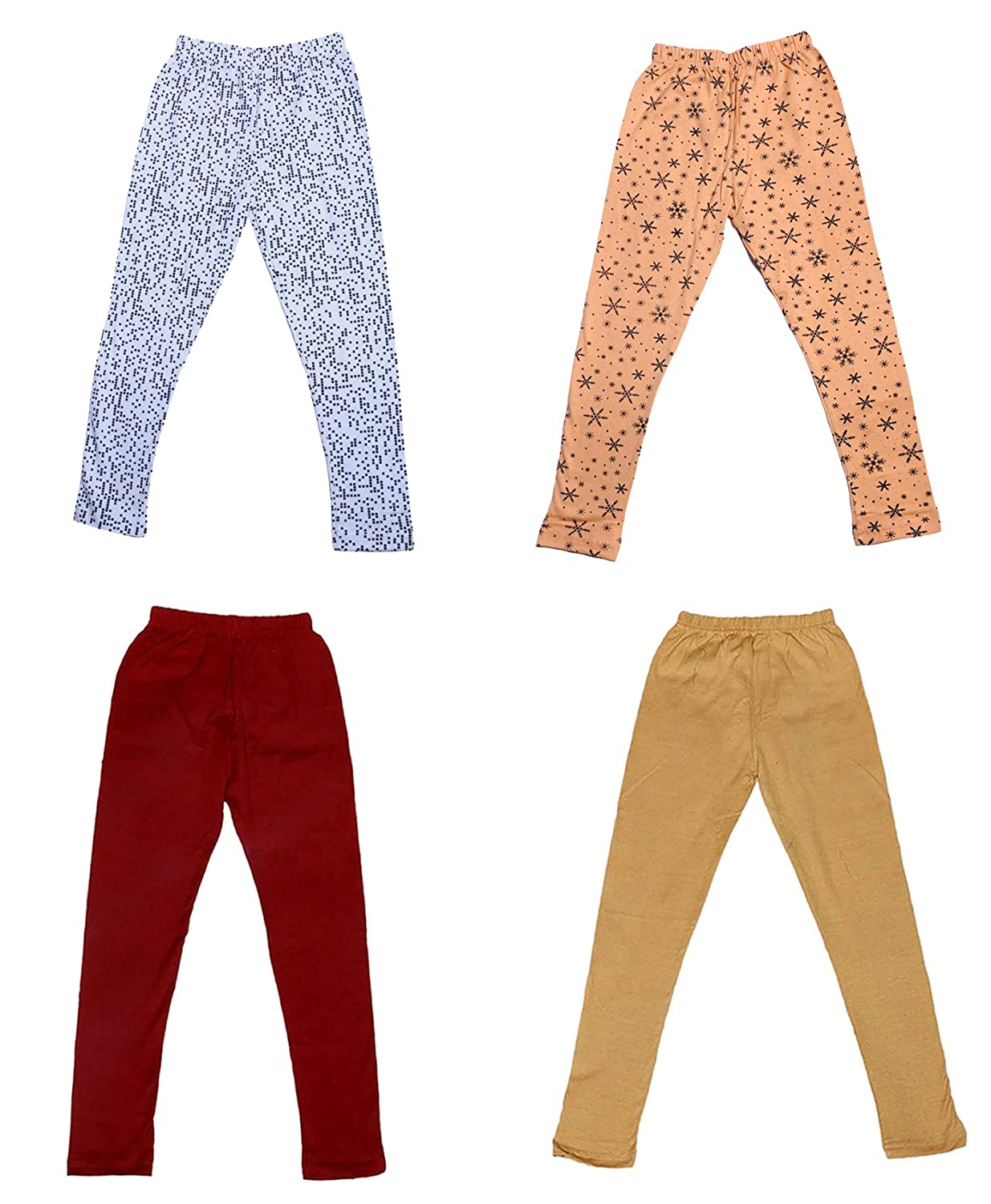 Indistar Girls Cotton Printed Leggings Pants Pack of 2