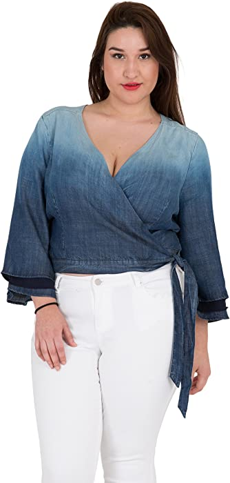 3f59a8e73fa Standards   Practices Plus Size Women s Tiered Bell Sleeve Denim Wrap Crop  Top Size 1X. Back. Double-tap to zoom