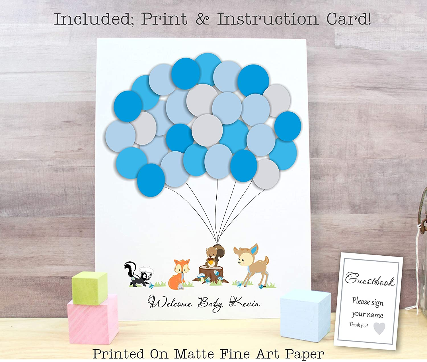 Giraffe Alternative Balloons Sign In Guestbook Baby Shower Print Unframed To Sign Boy Or Girl