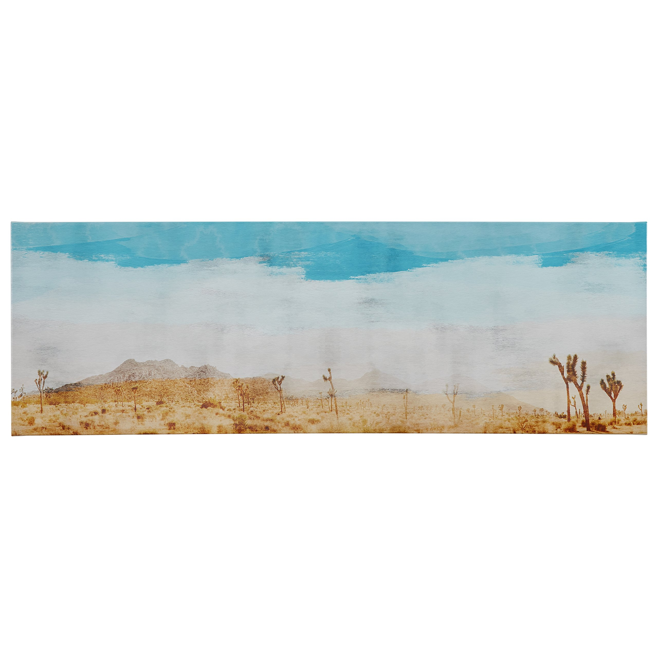 Contemporary Turquoise and Tan Desert Scene on Canvas, 60'' x 20'' by Stone & Beam