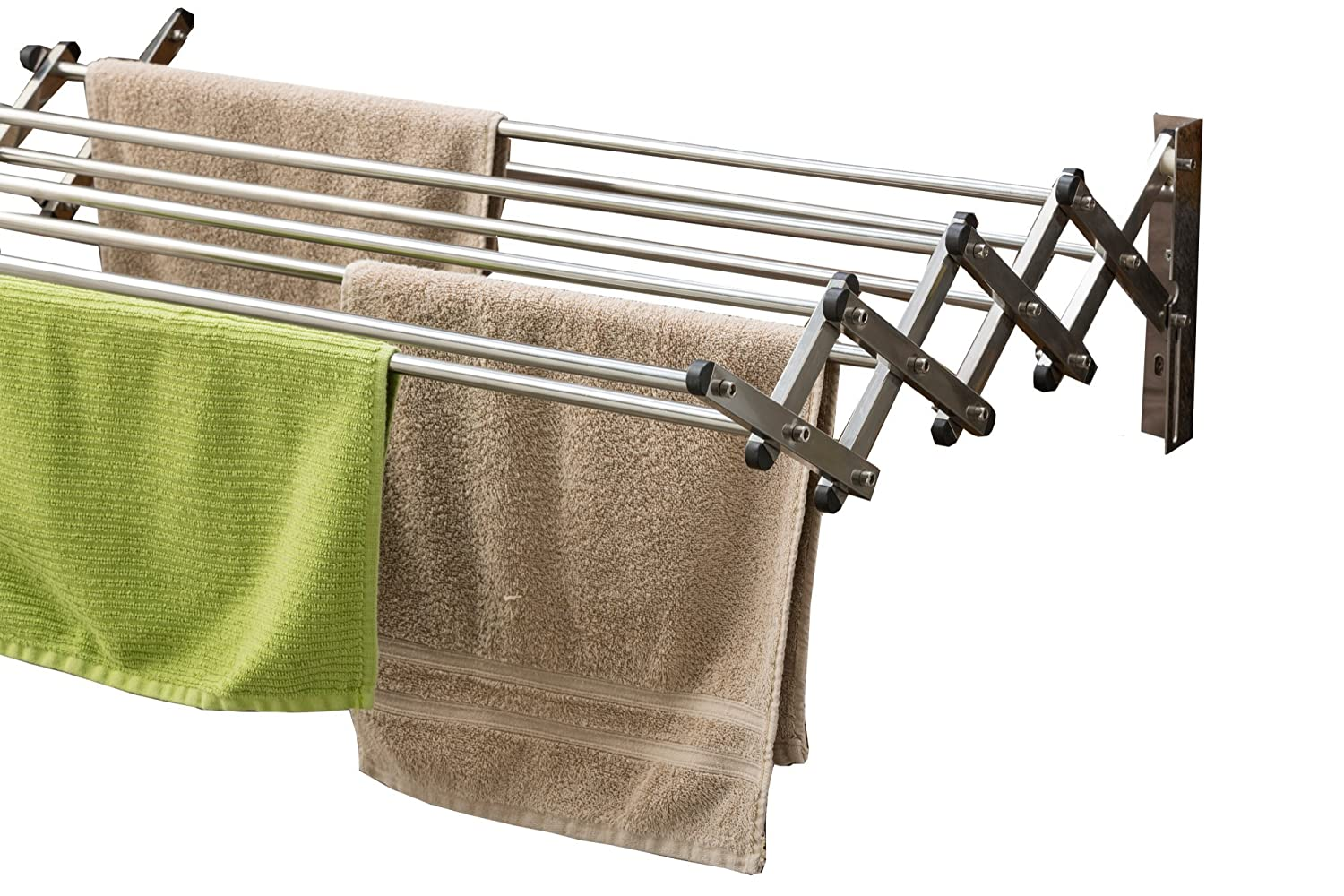 AERO W Racks Stainless Steel Wall Mounted Collapsible Laundry Folding Clothes Drying Rack 60 Pound Capacity 22.5 Linear Ft Clothesline
