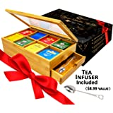 Tea Box 100% Bamboo Tea Box Chest Organizer With Slide Out Drawer, 8 Storage Compartments Clear Shatterproof Hinged Lid By Su
