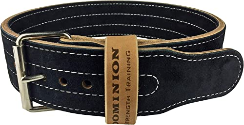 Dominion Strength Training Leather Weight Lifting Belt 3 Inch 10 mm for Powerlifting, Weightlifting, for Men and Women – Single Prong Seamless Roller- Made in The USA