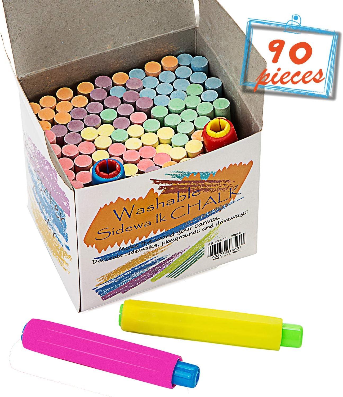 16 Piece Chalk /& Eraser Set Coloured White Kids Blackboard Sticks Pavement Patio