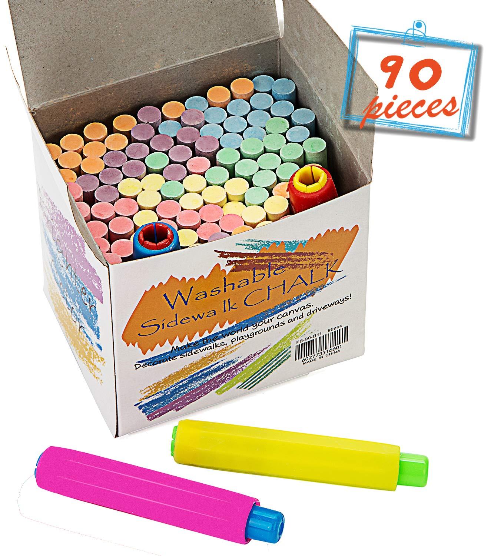 Chalkboard Chalk 88 Pack,Non-Toxic Sidewalk Chalk and Colored Dustless Chalk+2 Chalk Holder