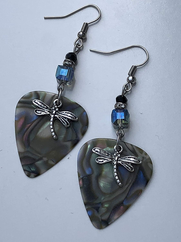 Dragonfly Guitar Pick Earrings Abalone