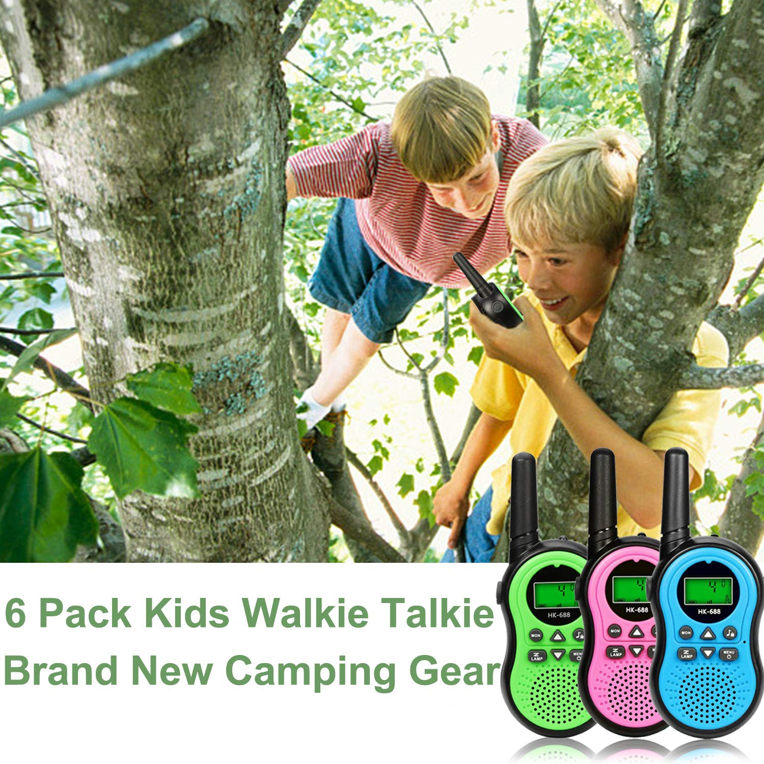 6 Pack Kids Walkie Talkies Outdoor Indoor Toys for Boy Girl 22 Channels Two Way Range Up to 3 Miles Flashlight FRS Radio Handheld Walkie Talkie Adventure Camping Game Back to School Birthday Best Gift by Camlinbo (Image #7)
