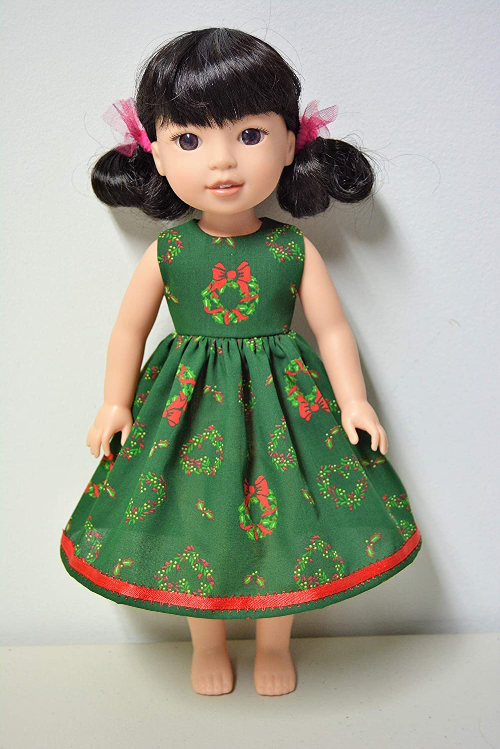 Handmade Doll Clothes Dress fits 14.5 American Girl Wellie Wishers and H4H Dolls Christmas K