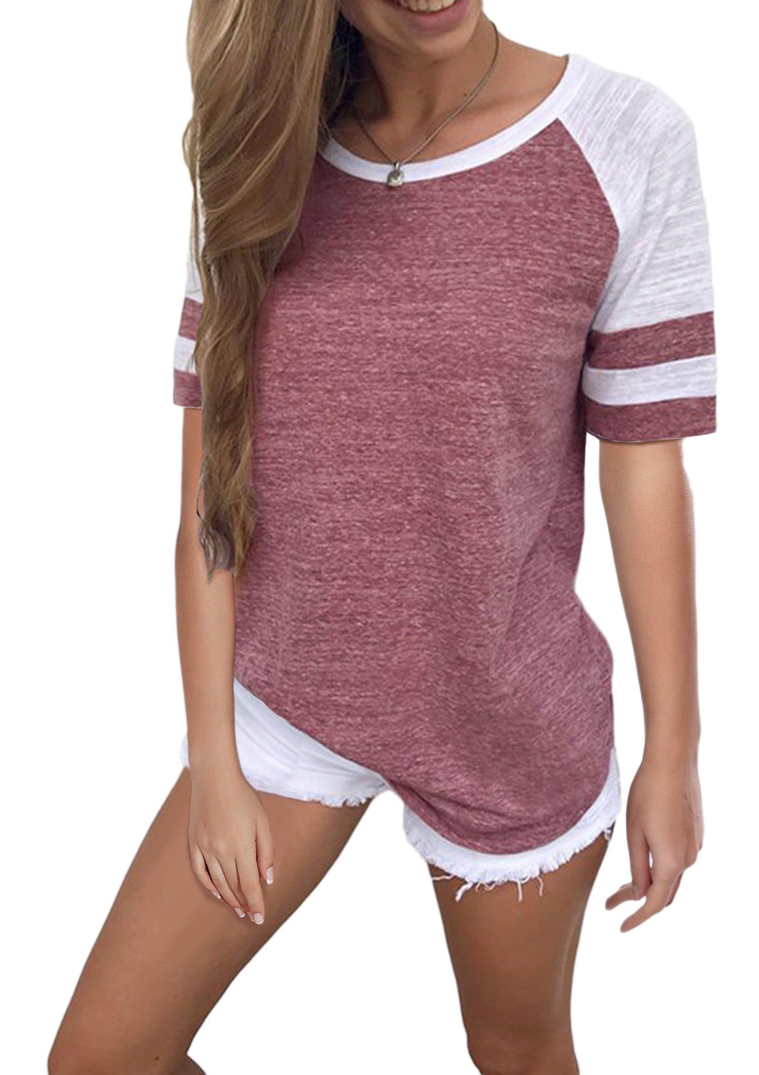 Yidarton Women's Color Block Short Sleeve T Shirt Casual Round Neck Tunic Tops(Wine,S)