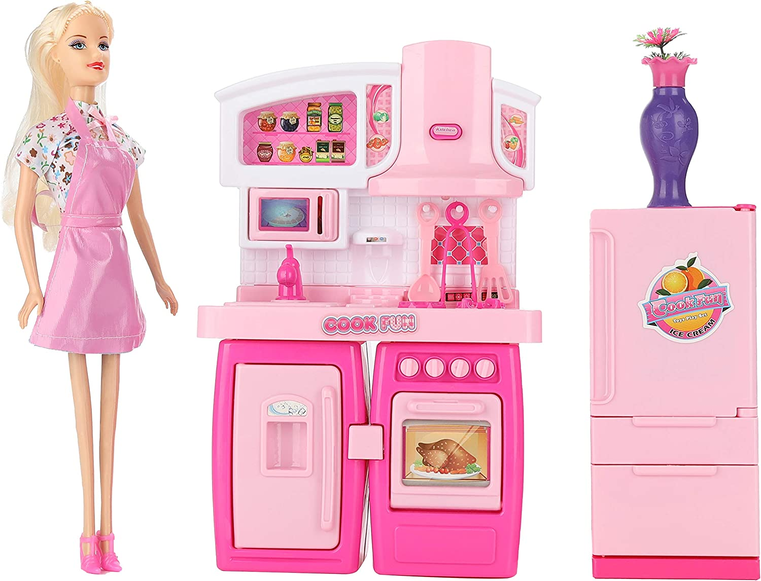 QHLPQH Kitchen Set for Kids Pink Dollhouse Kitchen Girls Mini Kitchen Playset with Sound and Light Oven Microwave Refrigerator Toy Doll House Asseccories and Furniture Chef Role Play