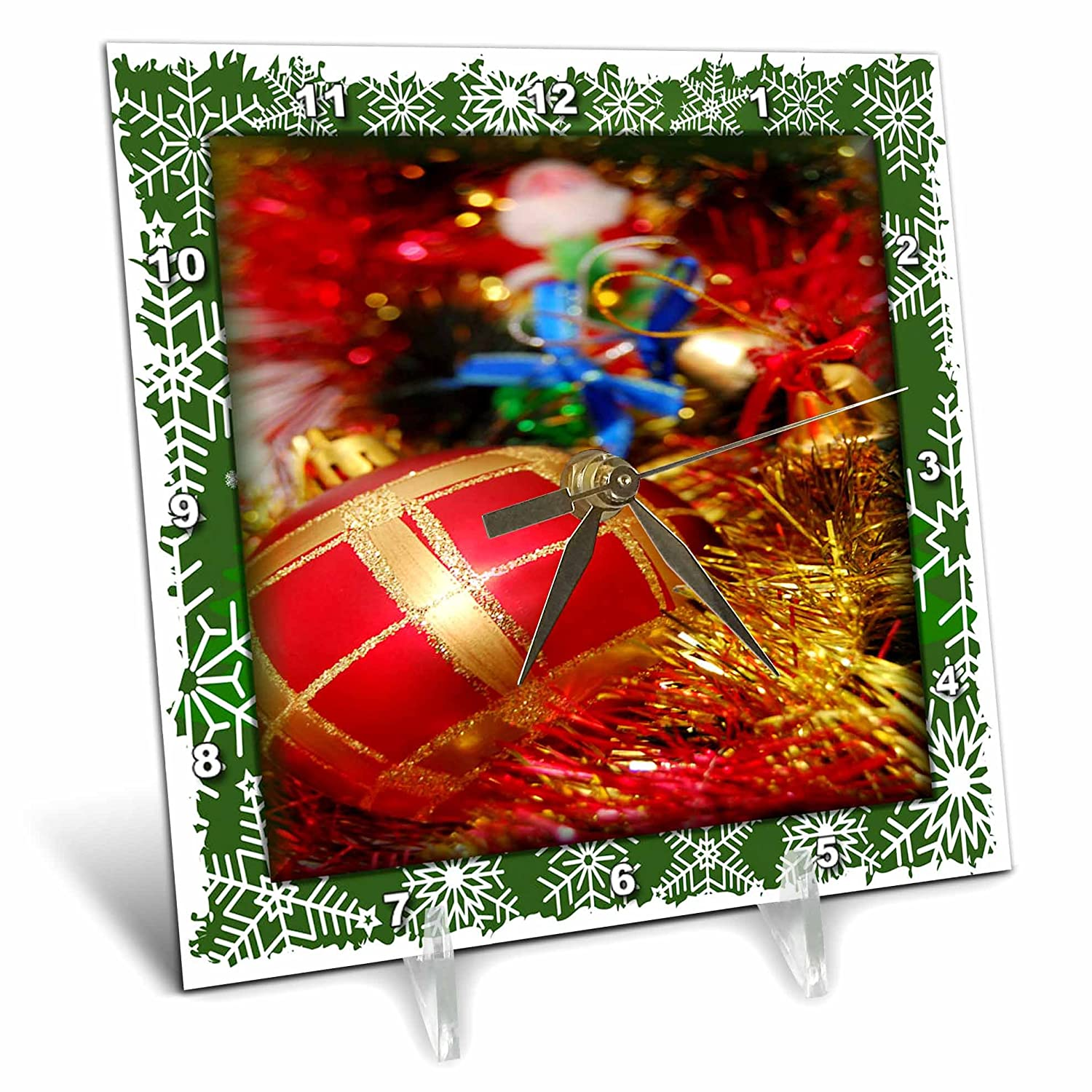 3dRose dc/_34040/_1 Christmas Decoration Desk Clock 6 by 6-Inch