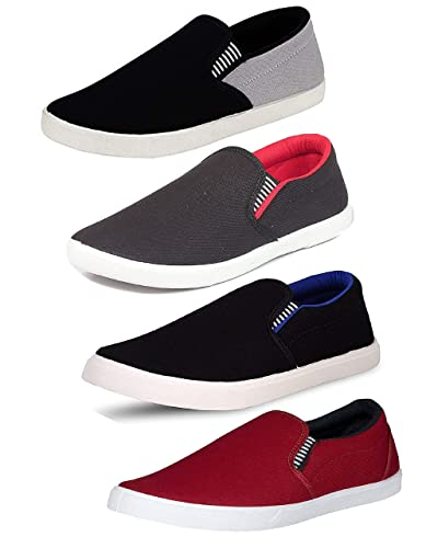 1ce42f97bfa Tempo Men s Combo Pack of 4 Loafers Shoes(SLV Gry SLV RED SLV BLU ...