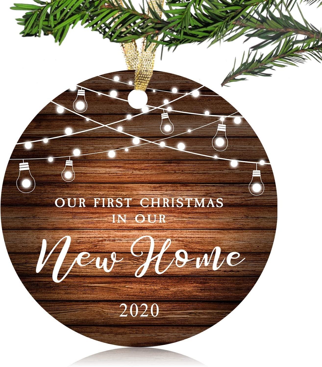 "NURIONSS Our First Christmas in Our New Home Ornaments 2020 - Christmas Wedding Decoration Gift for New Home New Homeowner New Apartment - 3"" Ceramic Ornament(New Home 1-1)"