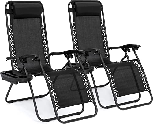 Best Choice Products Set of 2 Adjustable Steel Mesh Zero Gravity Lounge Chair Recliners w/Pillows and Cup Holder Tray