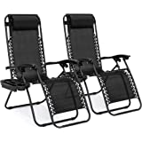 Best Choice Products Set of 2 Adjustable Steel Mesh Zero Gravity Lounge Chair Recliners w/Pillows and Cup Holder Trays…