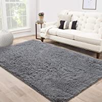 Area Rug Shag Fluffy Rugs Shaggy Carpet Bedside Floor Mat Super Soft Non-slip for Living Room Dining Room Bedroom Grey…