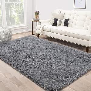 Area Rug Shag Fluffy Rugs Shaggy Carpet Bedside Floor Mat Super Soft Non-slip for Living Room Dining Room Bedroom Grey Rectangle 140x200cm