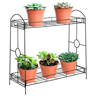 Best Choice Products 32in 2-Tier Indoor Outdoor Multipurpose Metal Plant Stand, Decorative Flower Pot Display Shelf Tray for Home, Backyard, Patio, Garden