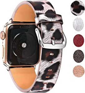 Greaciary Womens Leopard Strap Compatible with Apple Watch Bands 42mm 44mm, Lightweight Wristbands Dressy Exclusive Bracelet Replacement for iWatch Series 5 4 3 2 1 Sport Edition