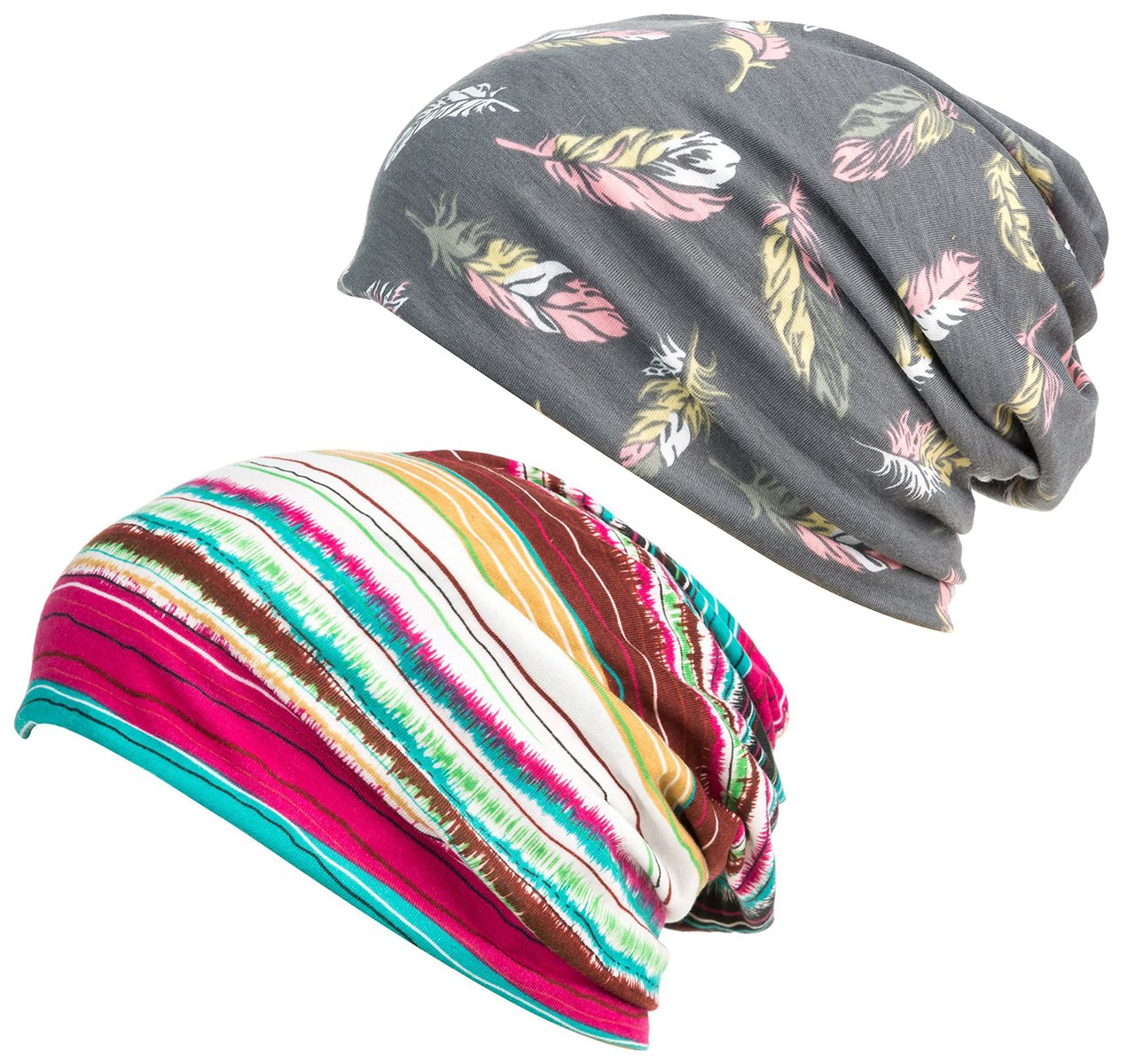 DancMolly Print Flower Cap Cancer Hats Beanie Stretch Casual Turbans for Women (Gray+Red)