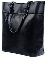 UTO Women Tote Bag Soft PU Leather Work Shoulder Bags Large Capacity Shopper Handbag Black(Version 2)